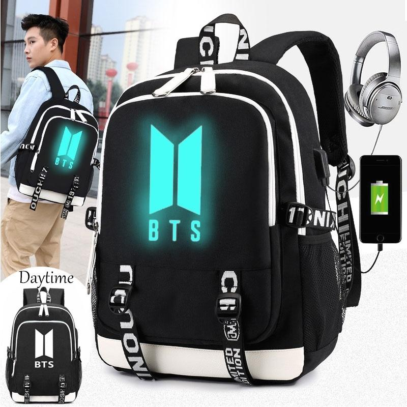 Kpop Rucksack شحن حقيبة الظهر حقيبة كتف مع للجنسين بنين BTS Bangtan USB Schoolbag Queows
