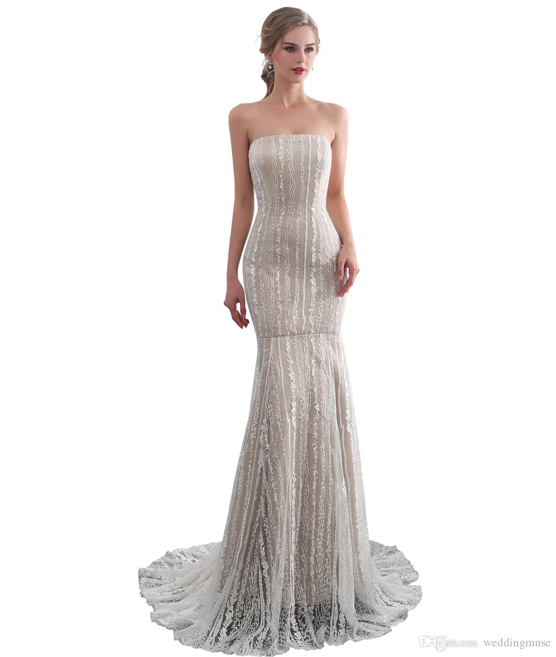Sexy Strapless Champagne Mermaid Wedding Dresses Appliques Lace Satin Lace Up Back Sweep Train African Bridal Gowns