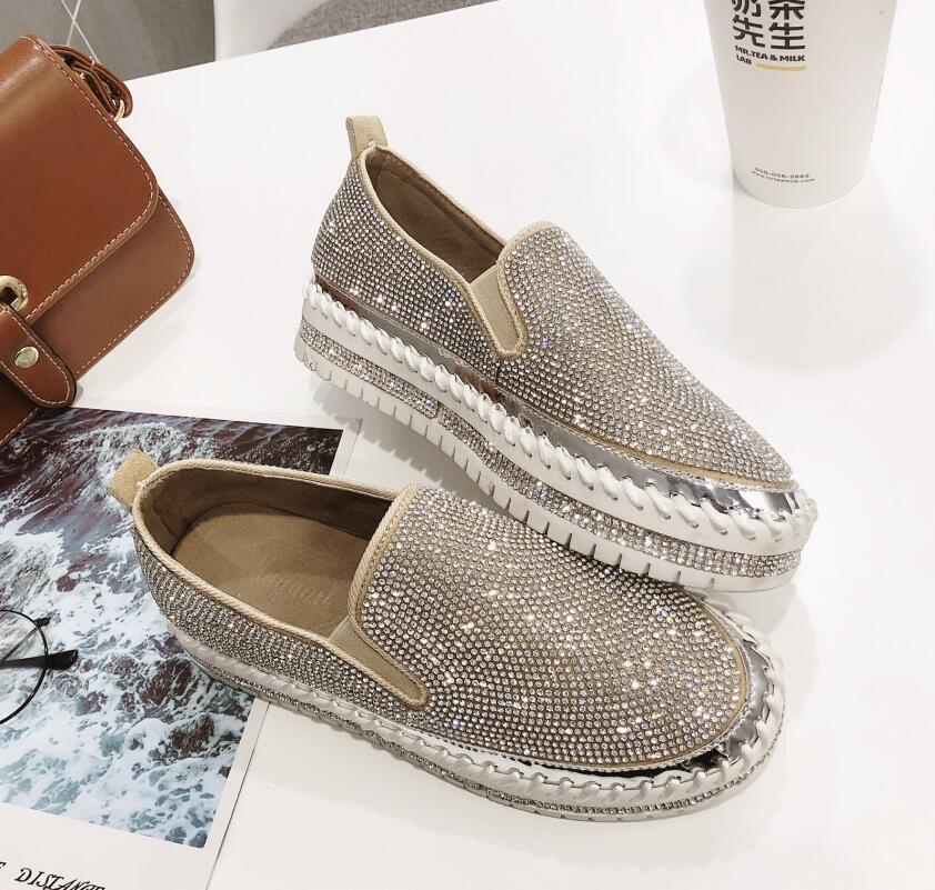 2019 del marchio di moda europea Espadrillas Scarpe Donna creepers di pelle appartamenti signore mocassini mocassini di cristallo G361
