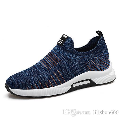 İlkbahar ve sonbahar yeni uçan dokuma sneakers görünmez heightening shoes moda rahat ayakkabılar
