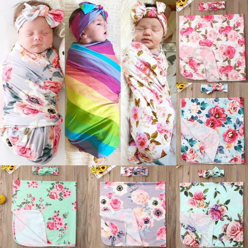 UK Newborn Baby Floral Swaddle Wrap Swaddling Sleeping Bag Blanket Headband Set