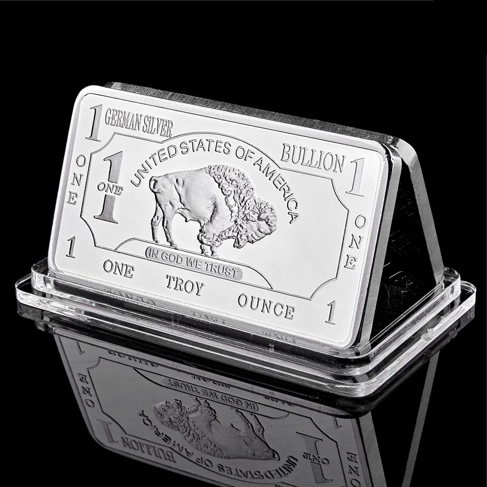 German 1 Troy Ounce Business Gift Buffalo 50mm *3mm Plated Silver Bullion Bar Medallion Coins Set Collectible