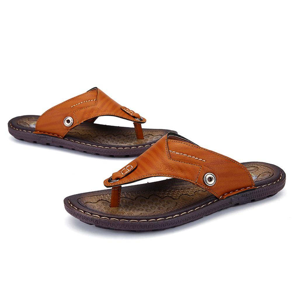 Summer Flip Flops Men Casual Slipper Beach Rubber Sole Male Outdoor Shoes Sneaker Leather Flat Sandals Large Size