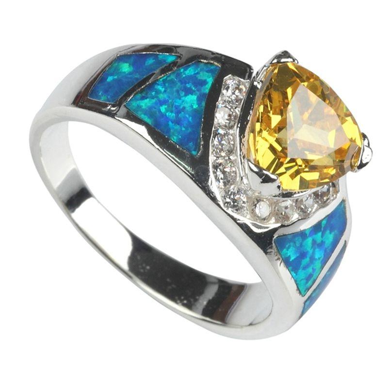 SHUNXUNZE HIPHOP BOHEMIA Trouwringen Sieraden Accessoires voor Vrouwen Dropshipping Geel Cubic Zirconia en Blue Opal Rhodium Plated R746
