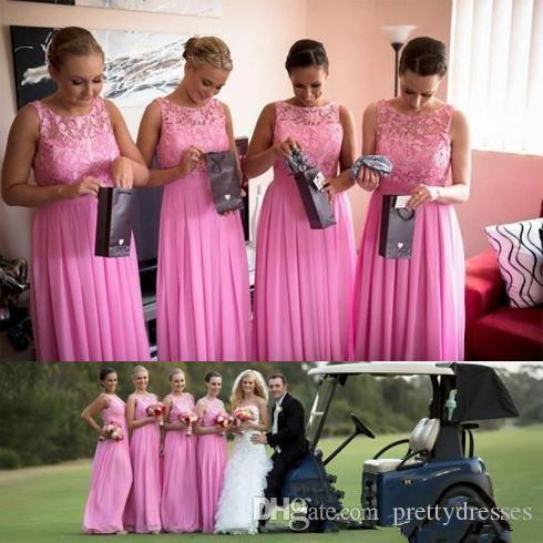 Lace Top A-Line Long Bridesmaids Dresses 2019 Garden Top Sale Vestidos De Bridesmaid Custom Honor Of Maid Garden Formal Ladies Maxi Dress