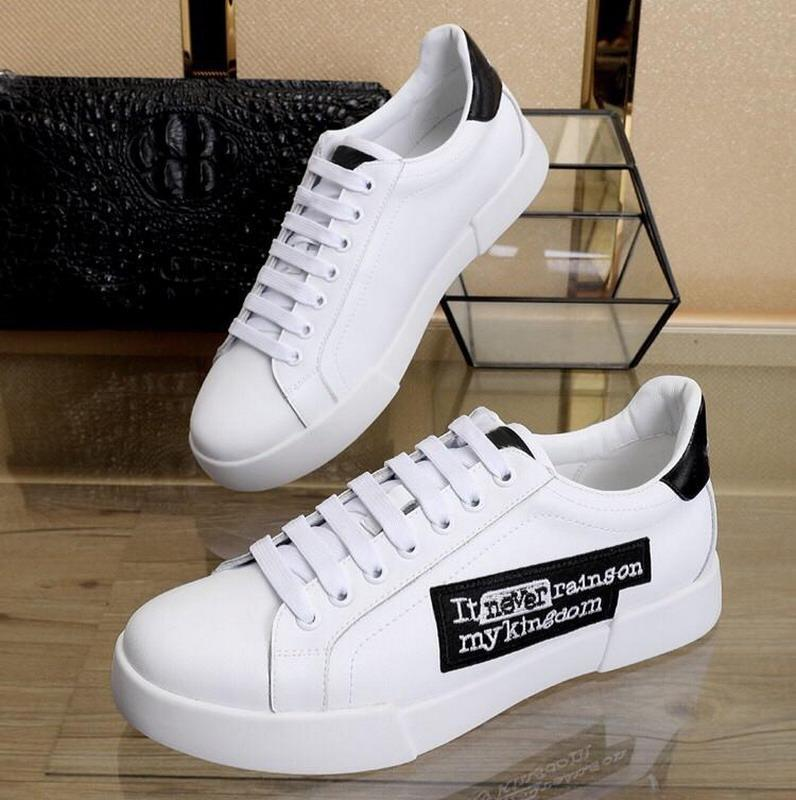 New Arrivals Men White Leather Printed