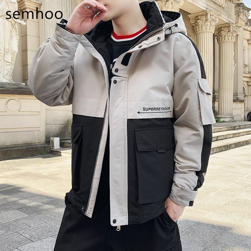 Hommes Manteaux d'hiver Modèle Explosion Casual Matching Cotton Jackets HATS Homme avec de nombreuses poches de mode chaud Taille Simple