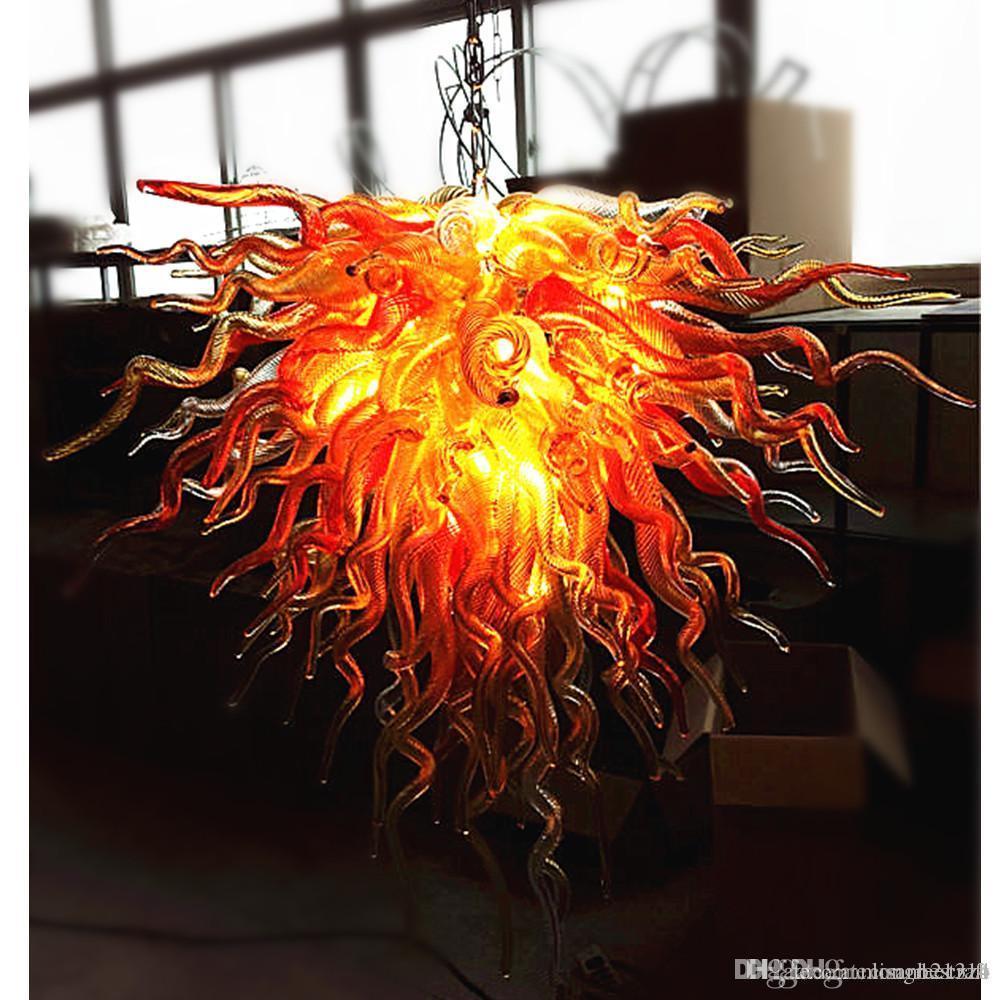 Il prezzo all'ingrosso 100% a mano soffiato lampadari in vetro Lampadario illuminazione del LED delle lampadine Fuoco Gloden Colore nuovo stile