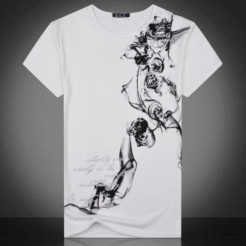 Creative Print Casual Crew Neck Tshirt Teenager Male Short Sleeve Regular Length Tees Mens Designer Tshirt