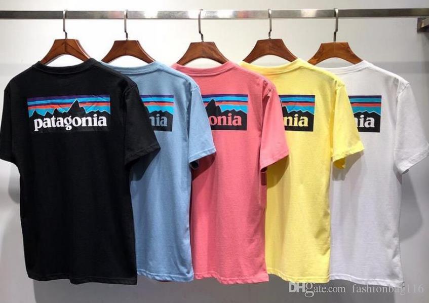 العلامة التجارية قميص تي شيرت باتاغونيا المحملة كم تنفس الرجال عشاق الموضة للنساء من الرجال والنساء قمصانا