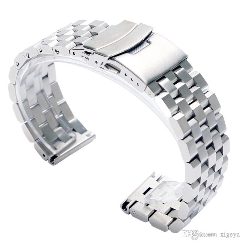 New Silver Solid Stainless Steel 20mm 22mm 24mm Watch Band Strap Replacement Bracelet Folding Clasp with Safety for Men Women