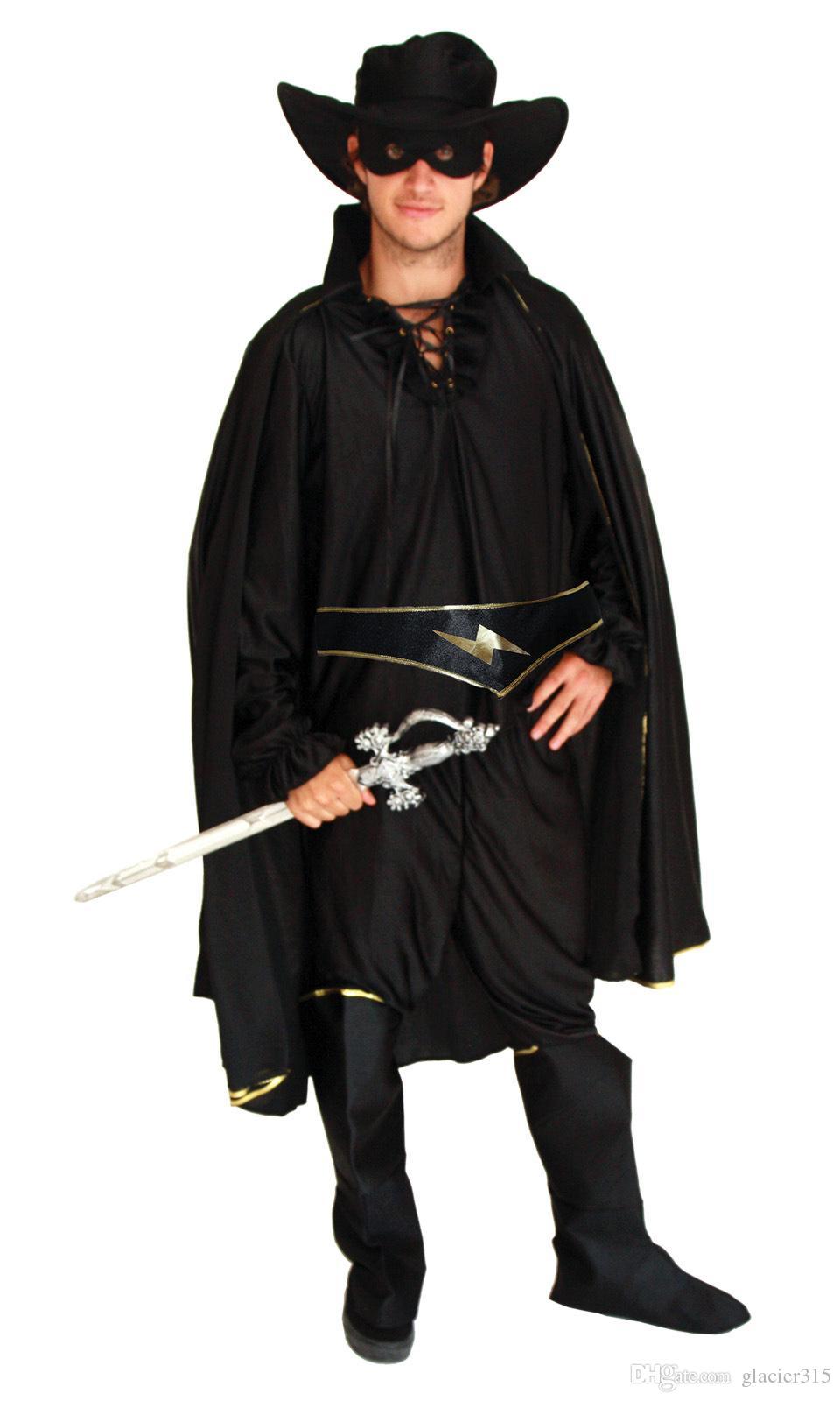 Adult Men Bandit Hero Costume With Red Belt Dress Cosplay Halloween Party