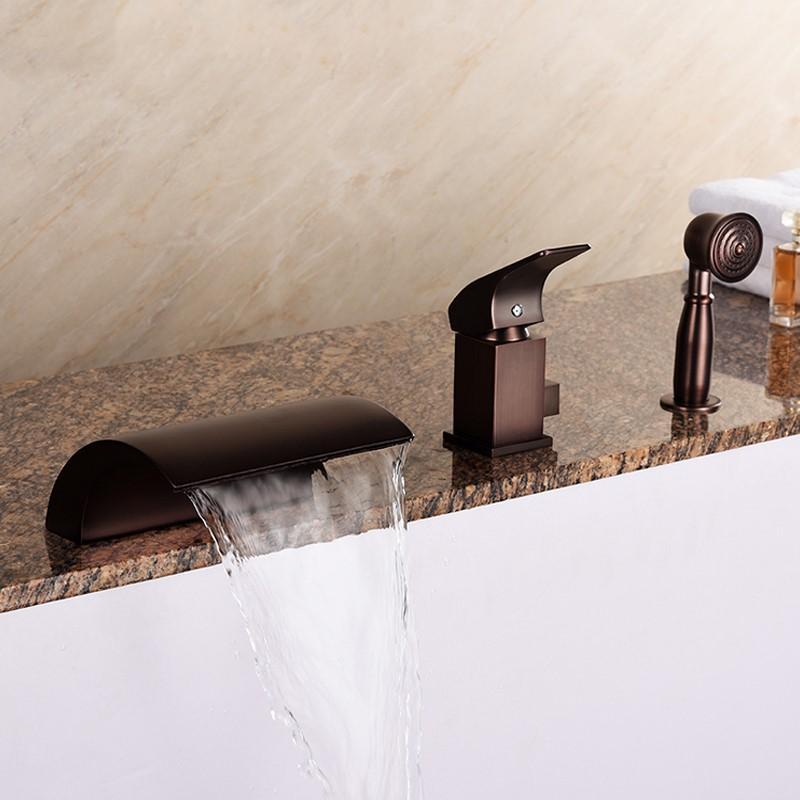 Bronze antigo banheiro torneira da banheira definir cachoeira marrom frio chuveiro quente torneira conjunto três buracos única alça de alta qualidade