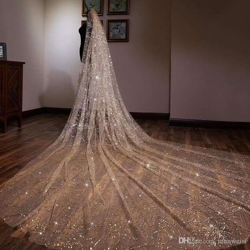Lusso 2019 Champagne Oro 3 metri Velo lungo da sposa Paillettes Veli da sposa Bordo a uno strato Velo scintillante con pettine