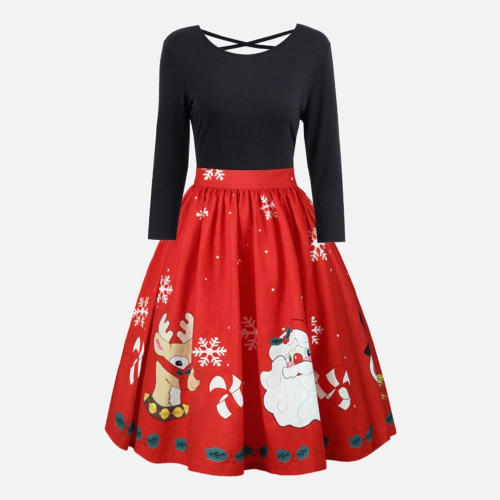Plus Size Vintage Dress Women Pleated Backless Cute Print Santa New Year  Christmas Party A Line Black Chic Casual Midi Dresses Plus Size Evening ...