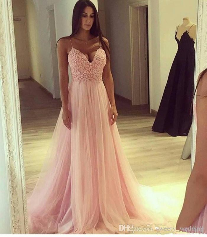 Elegante Blush Pink Prom Dresses Top in pizzo Sexy Spaghetti Una linea abiti da sera da sera formale Tulle morbido economici abito da damigella d'onore