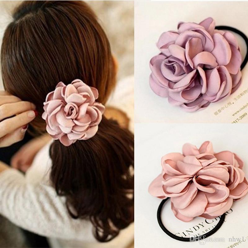 1Pc Flower Ponytail Holders Cute Fabric Elastic Hair Bands Hair Rope for Women Female Ties Girls Hair Accessories