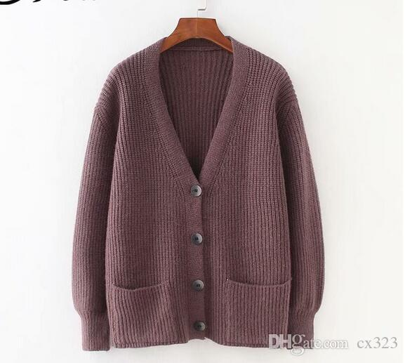 H.SA 2019 Femmes Cardigans Pull Col En V Solide Tricot Lâche Tricot Single Breasted Casual Tricot Cardigan Outwear Hiver Veste Manteau