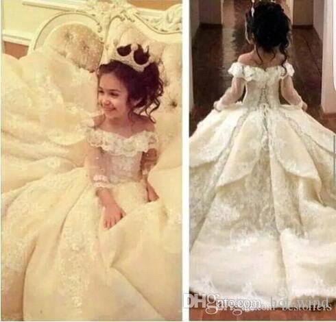 2020 Omuz Uzun Kollu Dantel A Hattı Çiçek Kız Elbise Dantel Aplike Katmanlı Ruffles Kız Yarışması Elbise BA5538 Kapalı Sevimli