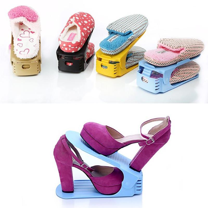 8pcs/set Rack Plastic Shelf Organizer For Shoes Double Deck Shoe Holder Space Save Storage Cabinet Q190610