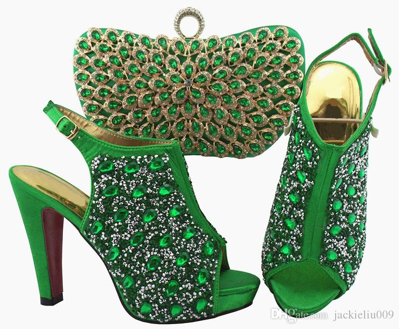 Wonderful Army green women pumps and bag set with colorful crystal decoration african shoes match handbag for dress QSL005,heel 12cm