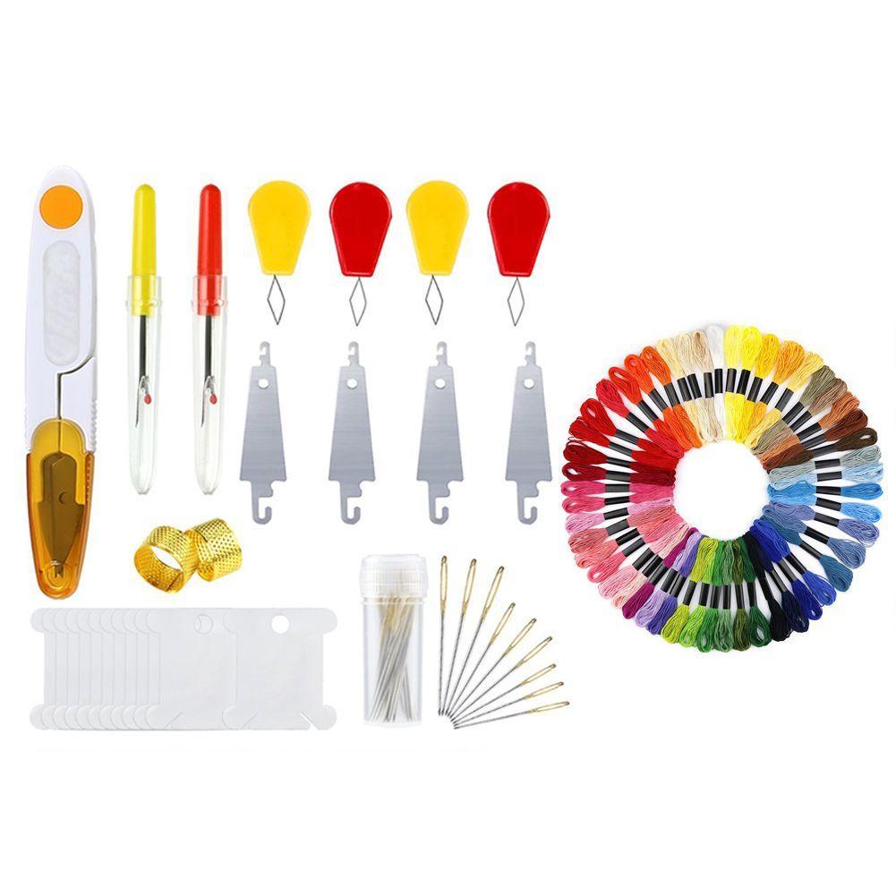 Набор стартера вышивки с руководством, с 2 бамбуковыми обручами вышивки, 50 линиями цвета, и набором инструмента крест-стежком