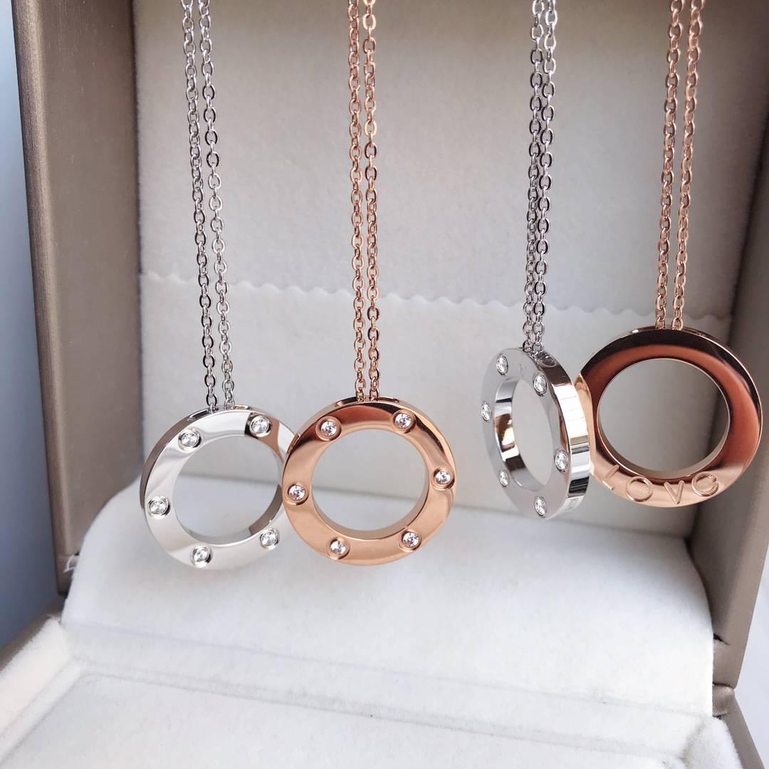 Любовь ожерелье титана стали розового золота Подвеска венчания партии ожерелье Классические ювелирные изделия никогда не увядает Мода без коробки