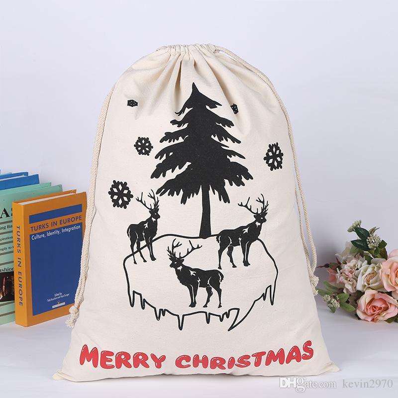 Bolsa de regalo de Navidad Bolsa de lazo Saco de lona grande orgánico pesado de Santa para regalos de niños 10 estilos