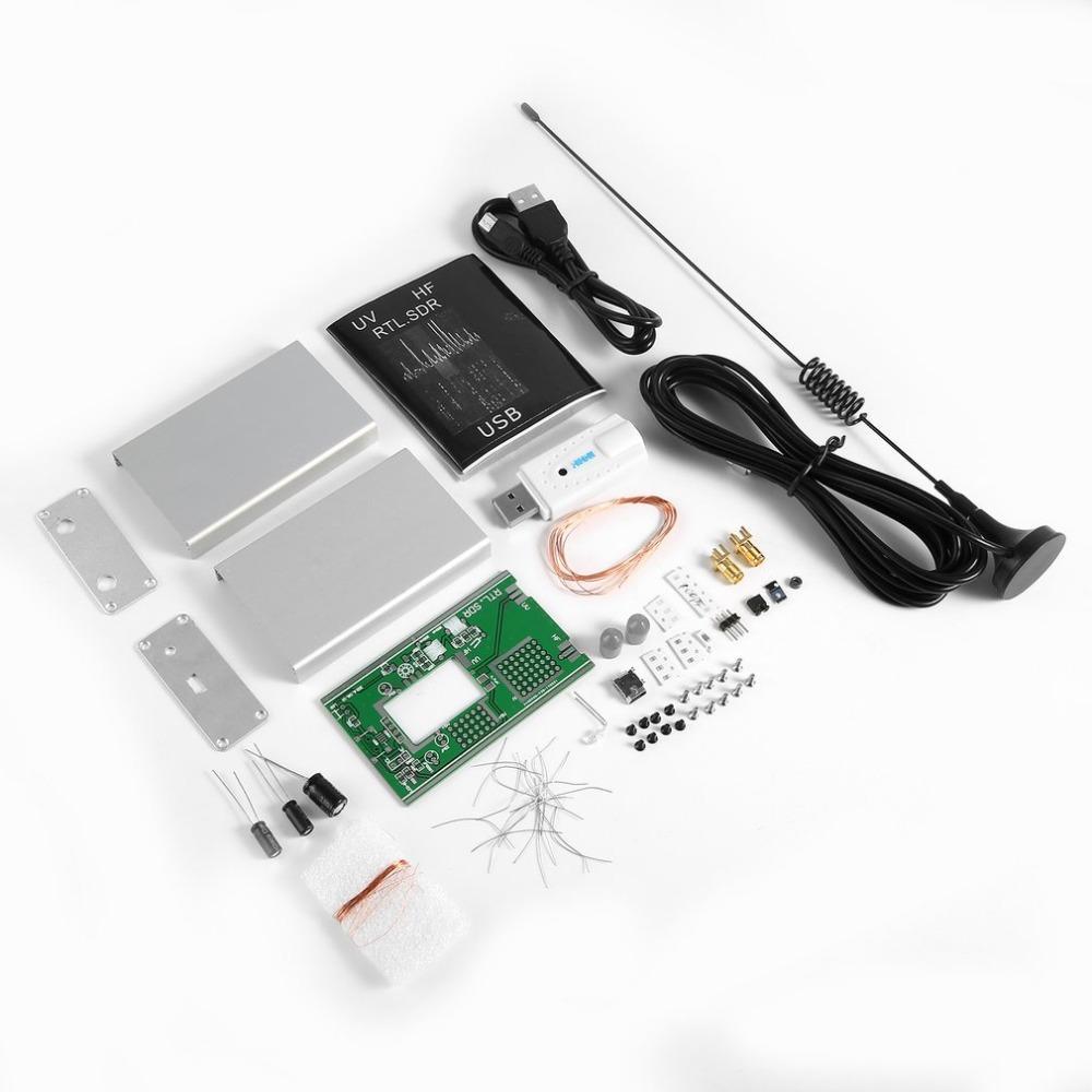 جديد 100KHZ-1.7GHz وكامل فرقة استقبال البرامج راديو FM UV HF AM RTL-SDR USB موالف استقبال RTL2832U + R820T + U / V هوائي DIY أطقم GPS