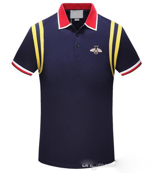BB 19SS marque concepteur abeilles hommes Polos serpent polo t shirt occasionnels bande de broderie haute couture Tiger Polos rue polo chemises classique