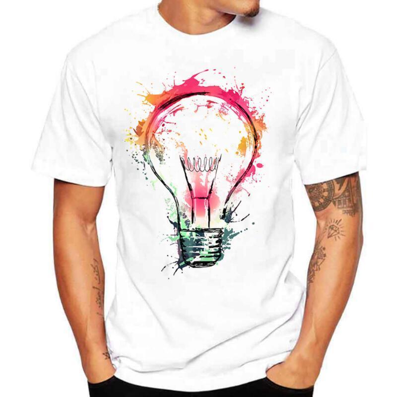 2020 T-shirts pour hommes d'été de la mode Bulb 3D Imprimer T-shirt des hommes Casual O-Neck T-shirt Hommes Marque Coton T-shirt drôle homme Top T-shirts