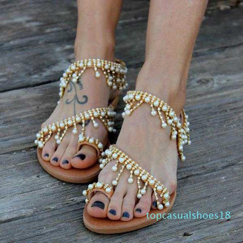 2019 Vintage Boho Sandals Mulheres Couro Beading Plano Sandálias Mulheres Bohimia Praia Sandálias Shoes Mais de t18 Tamanho