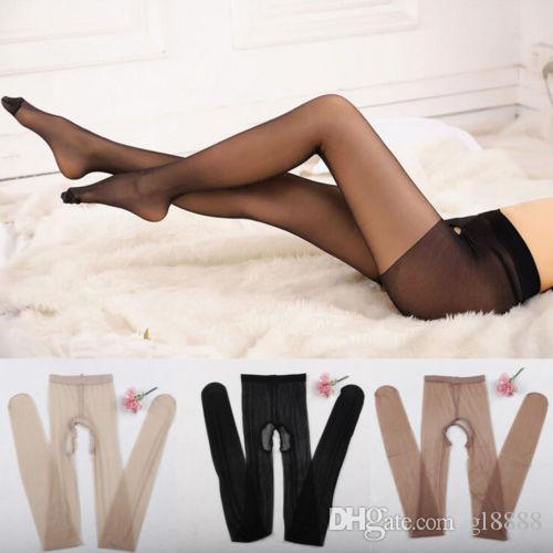 Mulheres sexy virilha aberta crotchless pura meia-calça fina collants tamanho único