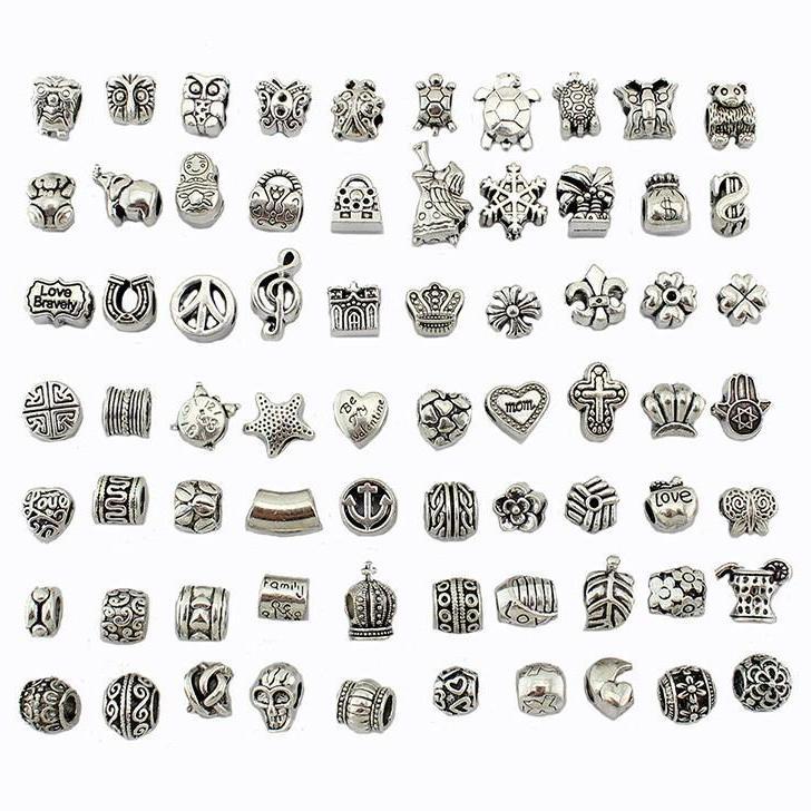 Perlen Mix Stil Antike Silber Überzogene Legierung Große Loch Charms Spacer Perlen Fit Pandora Hübsch DIY Schmuck Halsketten Anhänger Charms Perlen