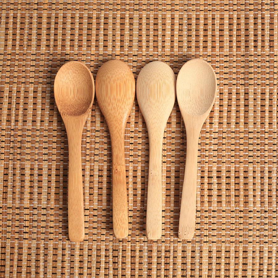 خشبية جام ملعقة عسل الطفل ملعقة قهوة ملعقة الجديدة حساس مطبخ طريق البهارات الصغيرة 12.8 * 3CM RRA2837-7