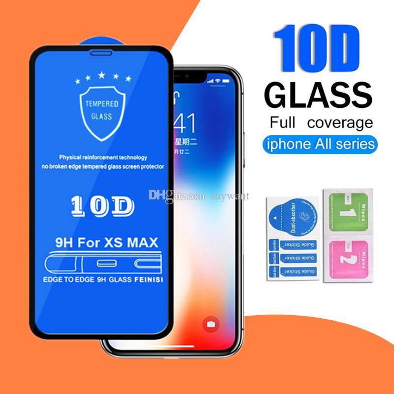 Schermo Full Cover 10D Protector per iPhone Pro 11 XS Max XR X 8 7 6 Plus curvo bordo 9H Durezza vetro temperato