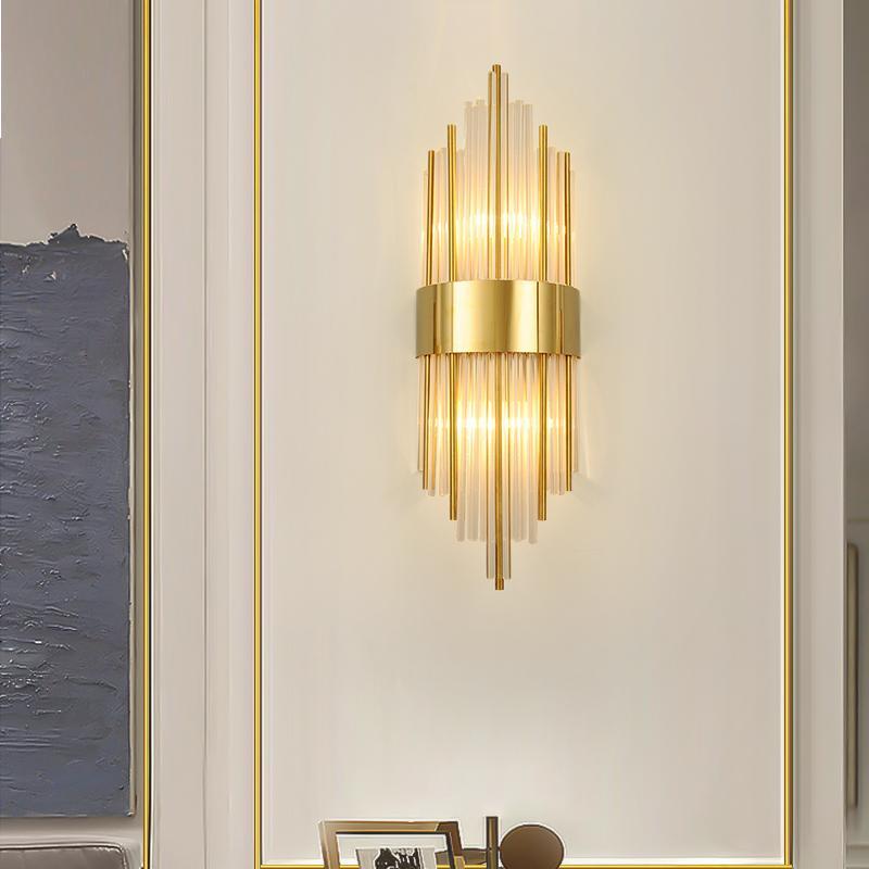 E14 chambre lampe murale en cristal bulbe salon à côté de la maison lumière LED décoration murale d'or cristal éclairage intérieur
