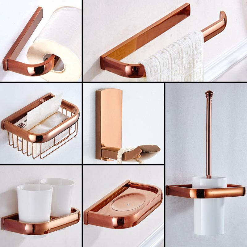Rose Gold Paper Holder Antique Shower Soap Dish WC Brush Holder Ceramic Cup Holders Brass Bathroom Accessories Robe Hook