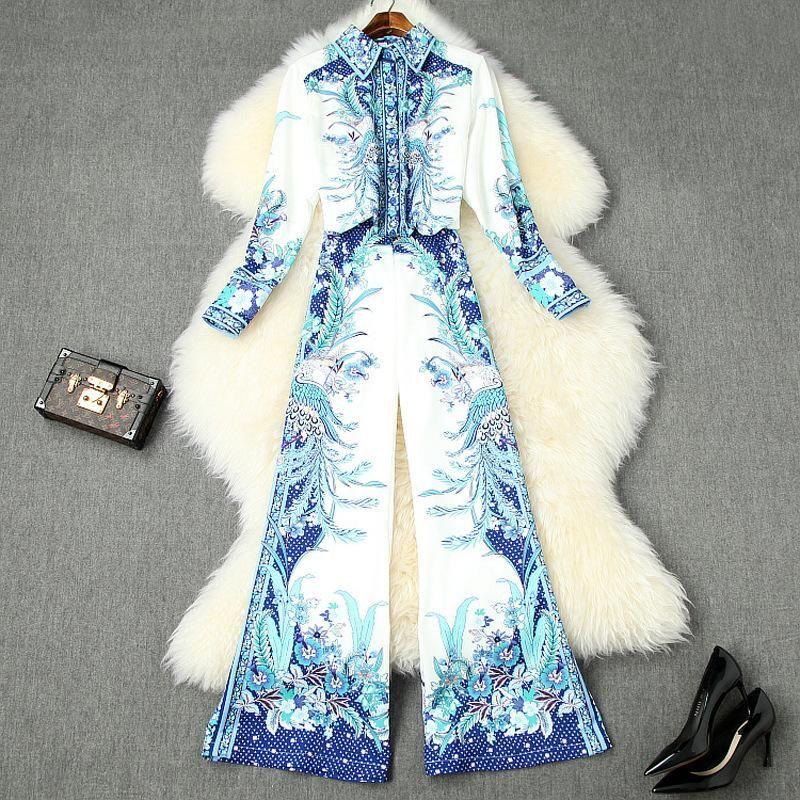 2020 Воротник весна лето синий с длинным рукавом нагрудного однобортной блузки + Цветочный Flare Брюки Брюки Двухкусочный 2 шт Набор LD23T10539