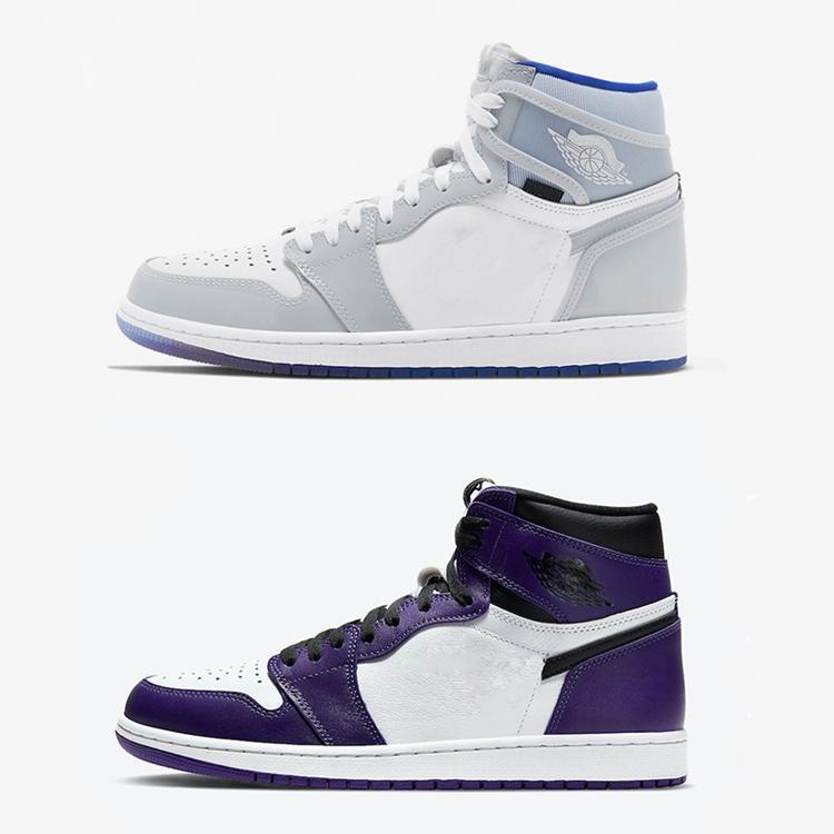 2020 jaune canari OW J1 High Zoom R2T Racer Bleu-Blanc Hommes Femmes Chaussures de basket-ball OG Cour Violet Salut Basketball Sneaker