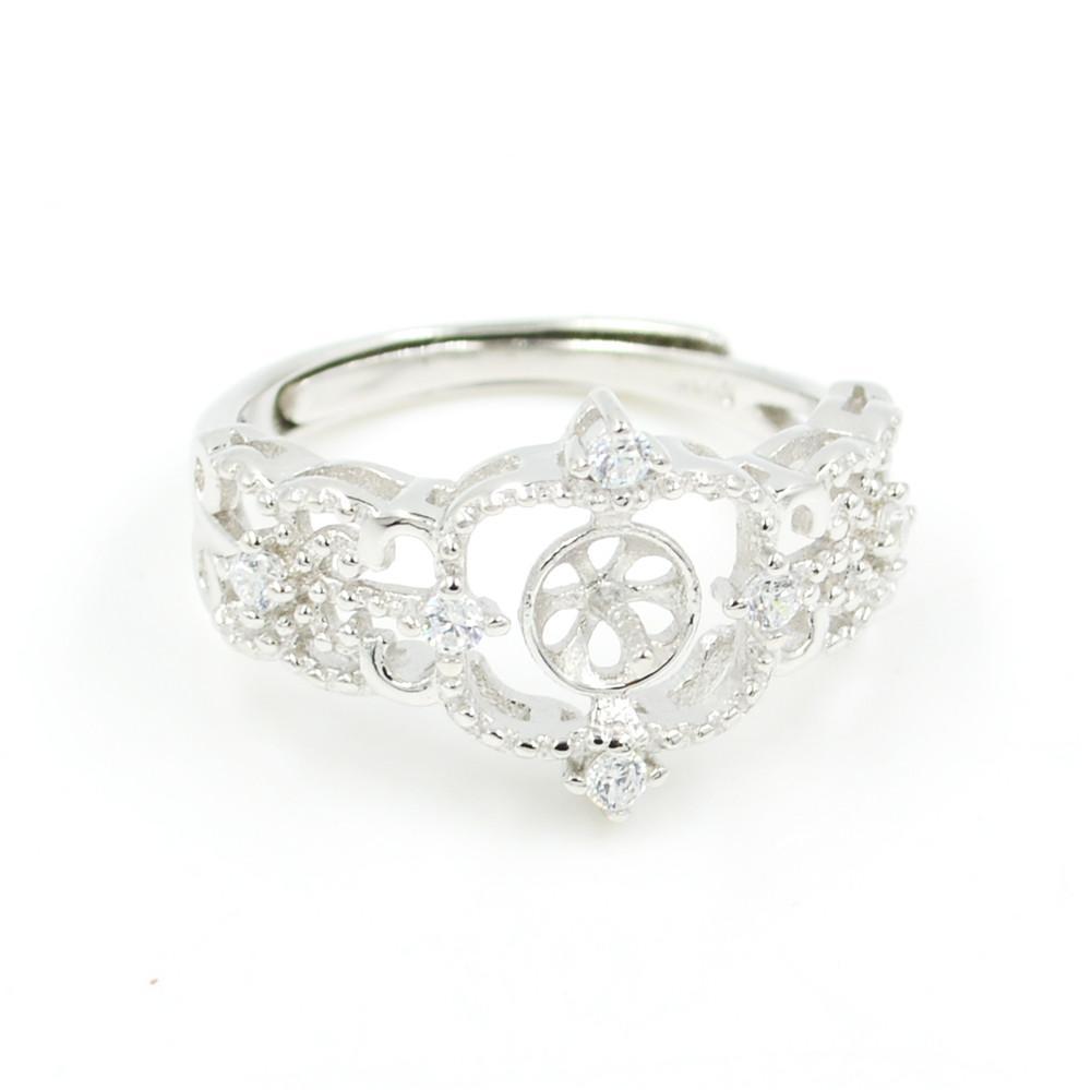 Оптовая продажа S925 стерлингового серебра кольцо монтаж полый узор кольцо крепления для женщин жемчужные украшения diy бесплатная доставка регулируемый открытие кольцо