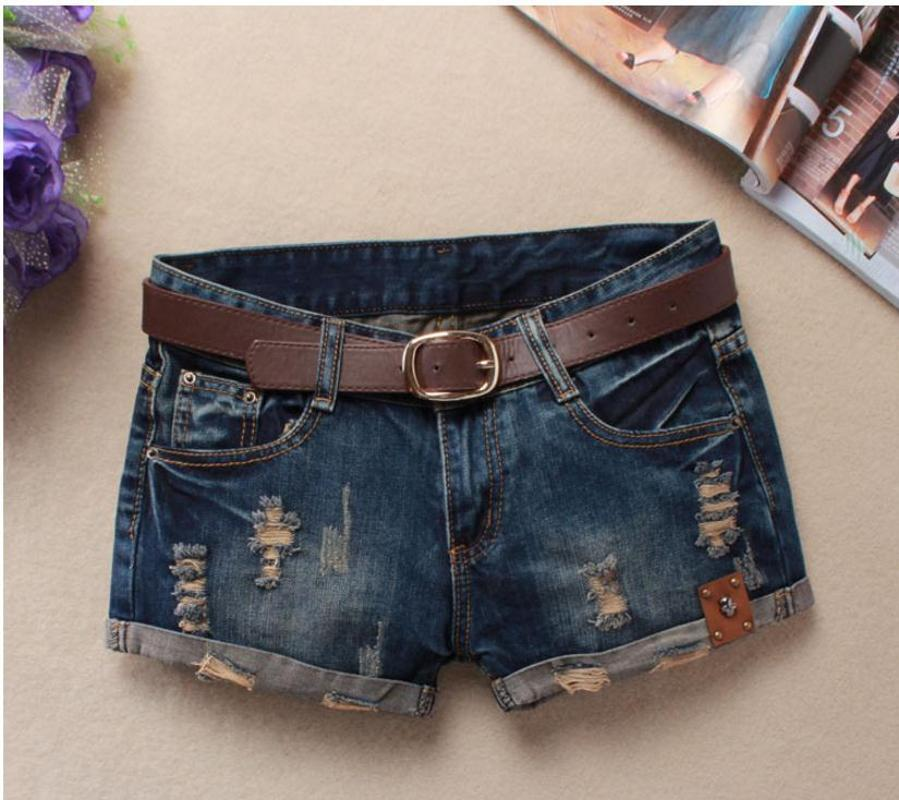 Agujeros verano pantalones cortos de mezclilla para las mujeres atractivas mini mujeres de los cortocircuitos del remache de los pantalones vaqueros de cintura baja sin la correa Ripped Denim Short J2305