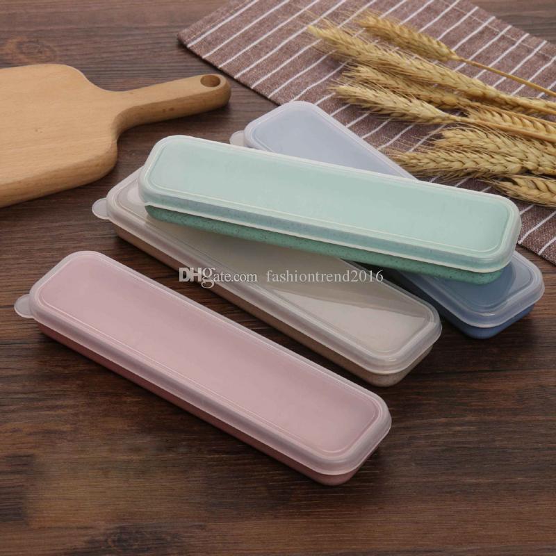 Eco-Friendly réutilisable Paille de blé Boîte vide Paquet avec couvercle transparent Voyage Cadeau Couverts Case Pour Flatware / Pailles / Chopsticks
