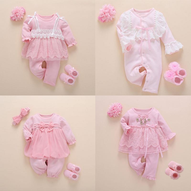Nouveau-né bébé fille Vêtements automne coton dentelle style princesse salopette de bébé 0-3 mois bébé Romper avec des chaussettes Bandeau Ropa