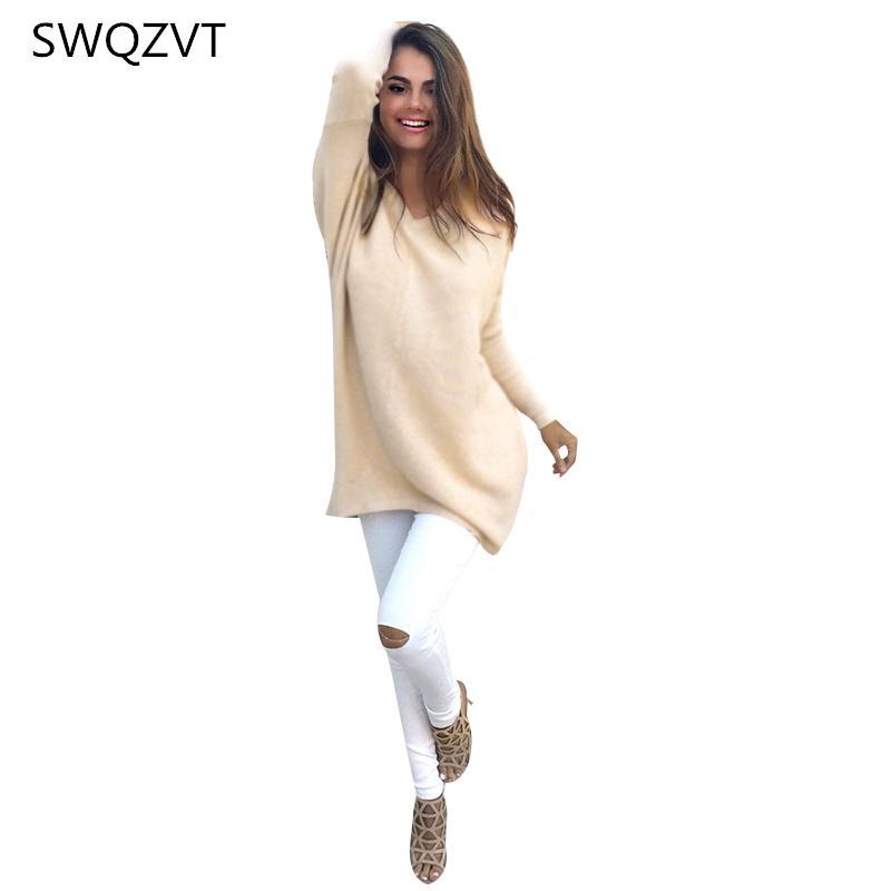 Dünne lange Pullover Frauen V-Ausschnitt-Pullover Street Frauen beiläufiger Frühling Herbst Pullover Pullover Tops 7 Farben