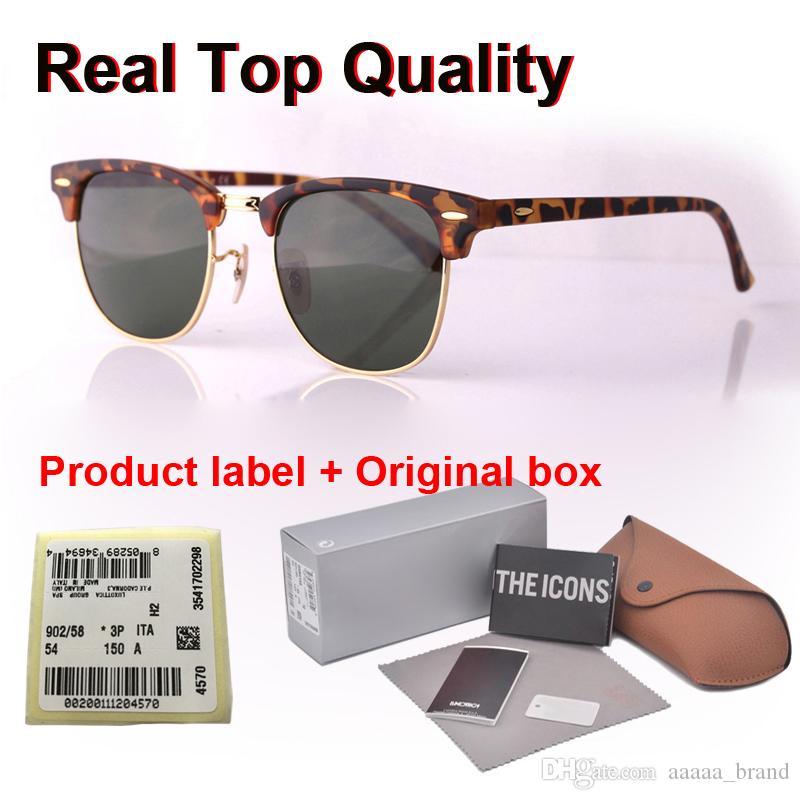 En kaliteli (Cam mercek) Marka Tasarımcı serbest durumda ve kutu ile erkekler kadınlar Plank çerçeve Metal menteşe Spor Vintage güneş gözlüğü güneş gözlüğü