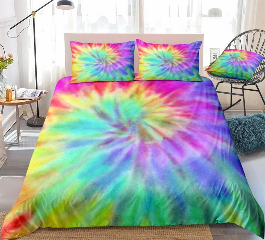 Tie Dye Bedding Rainbow Tie Dyed Duvet Cover Set Red Yellow Blue Bedding Sets Queen Home Textiles 3pcs Green Purple Dropship