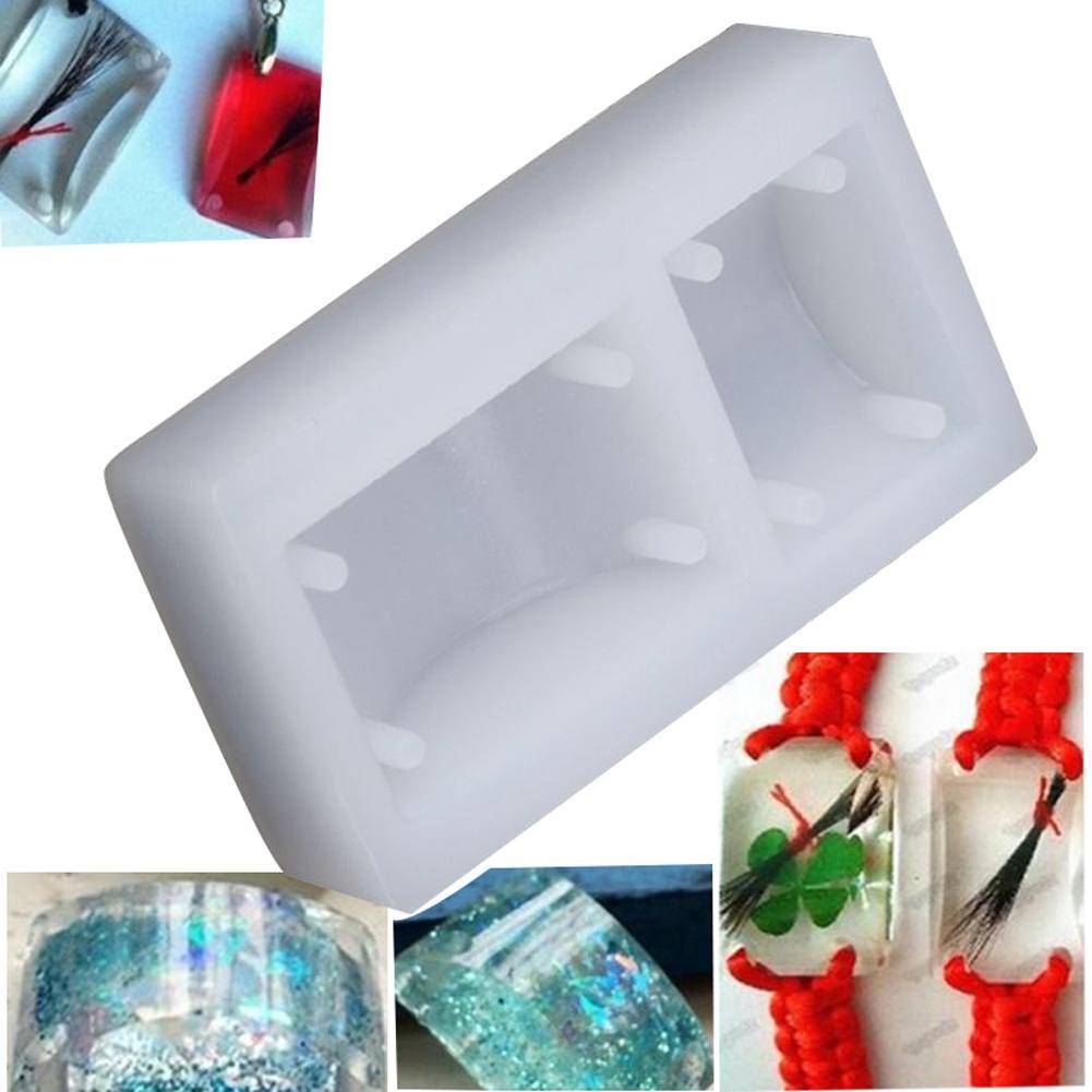 Retângulo Silicone DIY Mold pulseira pingente Fazendo Mold Resina Artesanato com furo HG99
