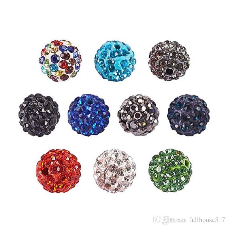 10 mm Ton KorneRhinestone runde Perlen Runde Mischfarben Pave Glas Strass Spacer Perlen passen Armband-Halsketten-Charme Schmuckherstellung