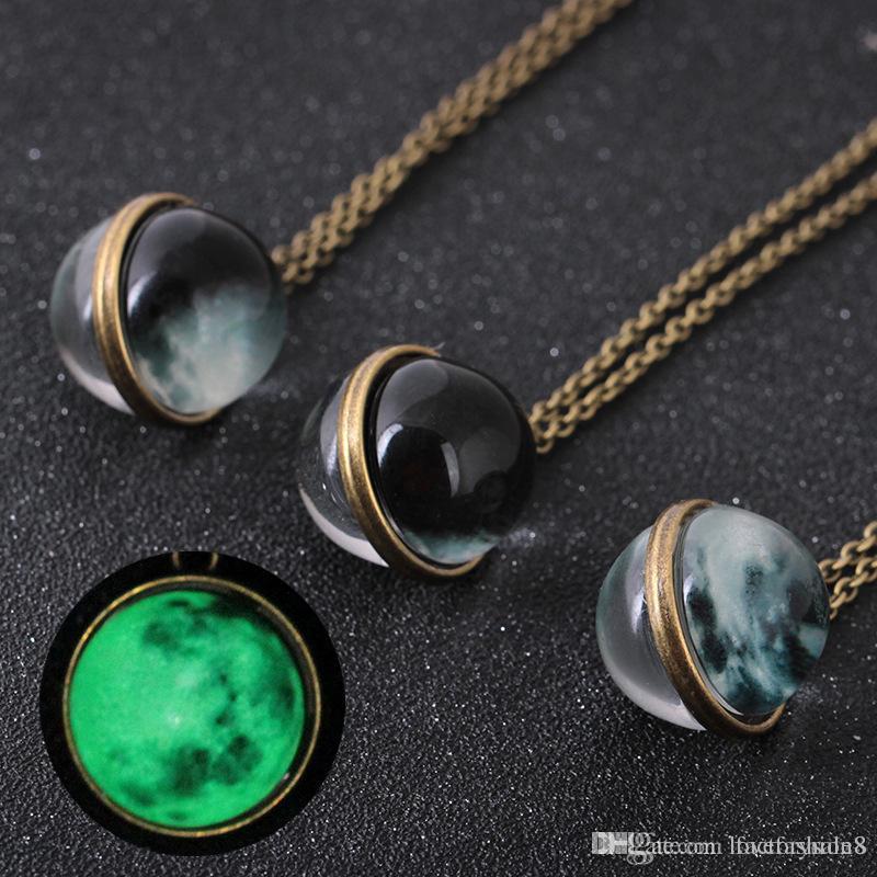 كرة زجاجية يدوية الصنع مزدوجة الجانب، جوهرة الوقت، قلادة ضوء القمر ضوء القمر، مجوهرات النجم الخفيف نجمة، الشحن مجانا.
